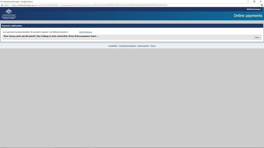Australien Visum, Übermittlung abgeschlossen, e-Visitor651, ImmiAccount