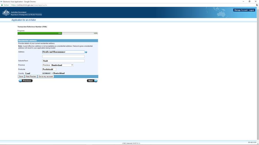 Australien Visum, Adressabfrage, e-Visitor651, ImmiAccount