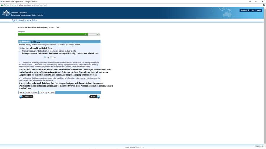 Australien Visum, Bestätigung Angaben korrekt, e-Visitor651, ImmiAccount