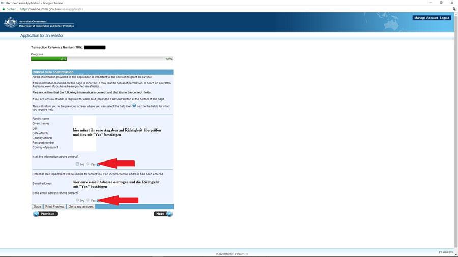 Australien Visum, Bestätigung Name, e-Visitor651, ImmiAccount