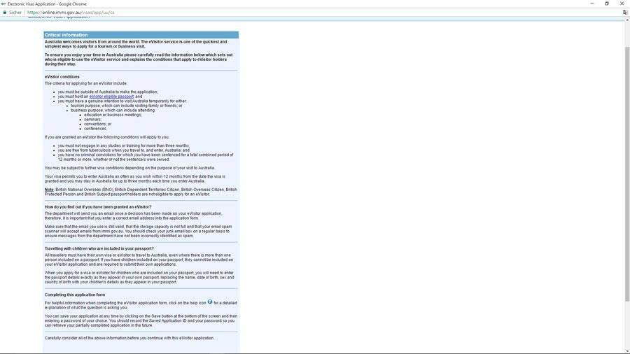 Australien Visum Bedingungen e-Visitor651, ImmiAccount