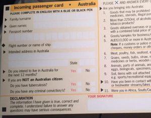 Einreisekarte Australien
