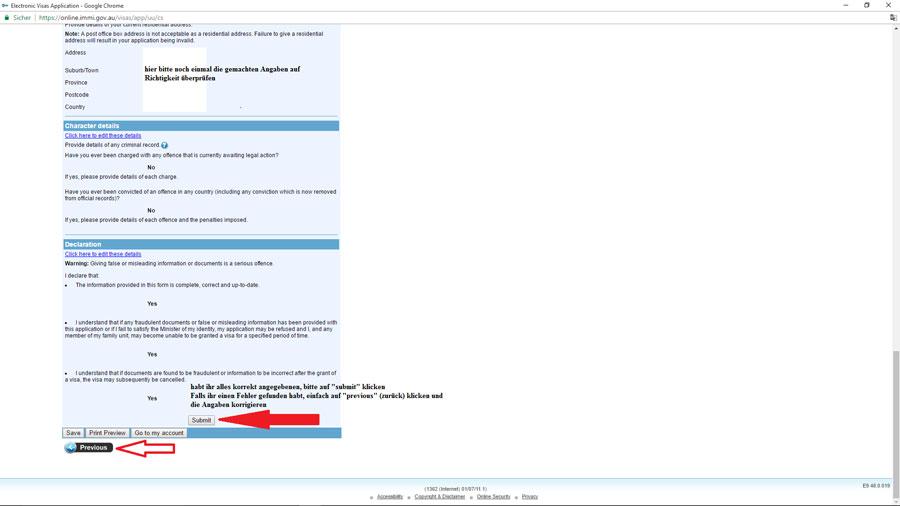 Australien Visum, Überprüfung der gemachten Angaben, e-Visiotr651, ImmiAccount