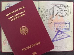 Visa-stempel im Reisepass, Australien