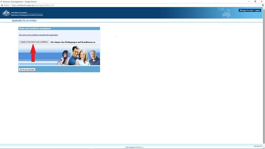 Australien Visum, Zustimmung der Bedingungen- Beantragung e-Visitor 651, ImmiAccount