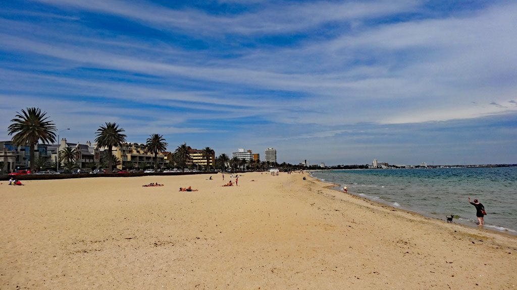 Middle Park Beach bei St. Kilda in Melbourne
